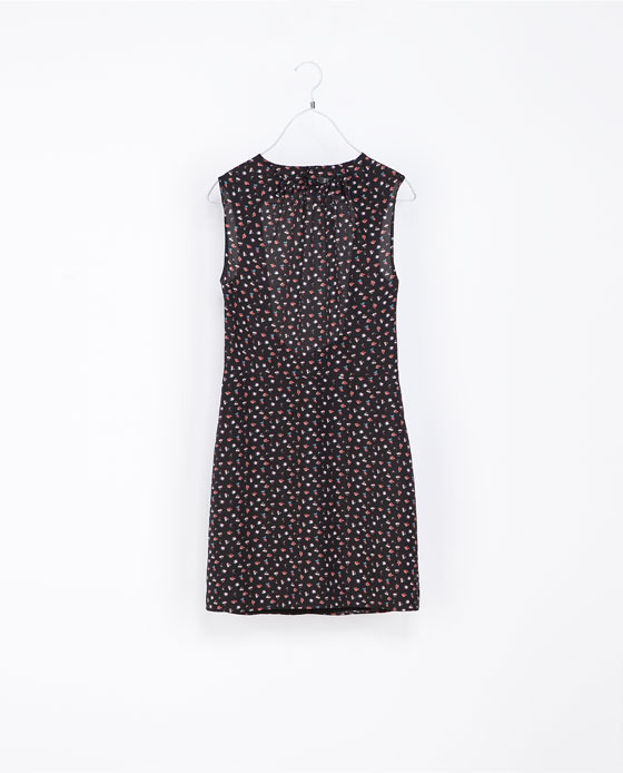 Floral Print Dress - style: shift; length: mid thigh; sleeve style: sleeveless; back detail: back revealing; occasions: casual, evening, occasion; fit: body skimming; fibres: polyester/polyamide - 100%; neckline: crew; predominant colour: multicoloured; sleeve length: sleeveless; pattern type: fabric; pattern size: standard; pattern: florals; texture group: other - light to midweight; trends: playful prints; season: a/w 2013; multicoloured: multicoloured