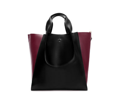 Shopper Bag - secondary colour: burgundy; predominant colour: black; occasions: casual, work; type of pattern: standard; style: tote; length: handle; size: standard; material: faux leather; finish: plain; pattern: colourblock; season: a/w 2013