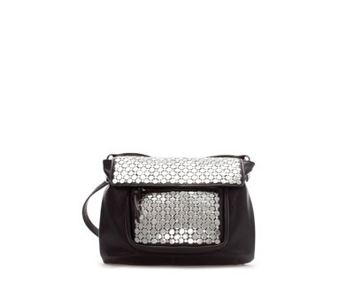 Studded Messenger Bag - secondary colour: silver; predominant colour: black; occasions: casual, creative work; type of pattern: standard; style: messenger; length: across body/long; size: standard; material: faux leather; embellishment: studs; pattern: plain; finish: metallic; season: a/w 2013