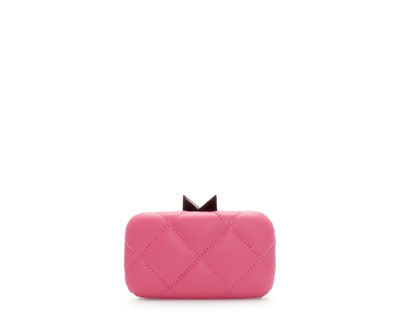 Mini Quilted MinaudiÉre - predominant colour: pink; occasions: evening, occasion; type of pattern: standard; style: structured bag; length: hand carry; size: standard; material: faux leather; embellishment: quilted; pattern: plain; finish: plain; season: a/w 2013