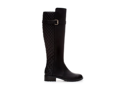 Quilted Boot - predominant colour: black; occasions: casual, creative work; material: faux leather; heel height: mid; embellishment: quilted; heel: block; toe: round toe; boot length: knee; style: standard; finish: plain; pattern: plain; season: a/w 2013