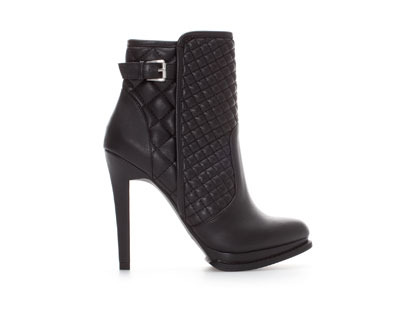 Quilted Ankle Boot - predominant colour: black; material: faux leather; embellishment: quilted; heel: standard; toe: round toe; boot length: ankle boot; style: standard; finish: plain; pattern: plain; heel height: very high; occasions: creative work; season: a/w 2013