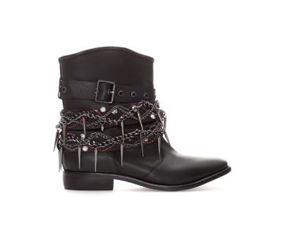 Beaded Leather Ankle Boot - secondary colour: silver; predominant colour: black; occasions: casual, creative work; material: leather; heel height: flat; heel: standard; toe: round toe; boot length: ankle boot; style: biker boot; finish: plain; pattern: plain; embellishment: chain/metal; season: a/w 2013