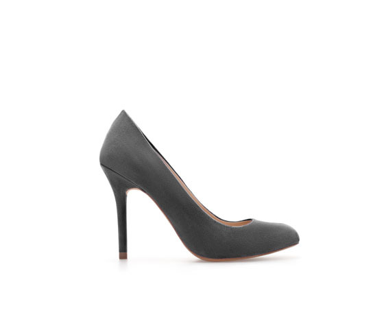 Court Shoe - predominant colour: mid grey; occasions: evening, work, occasion; material: faux leather; heel: stiletto; toe: round toe; style: courts; finish: plain; pattern: plain; heel height: very high; trends: 1940's hitchcock heroines; season: a/w 2013
