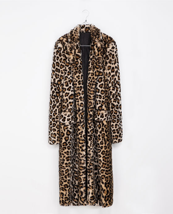 Leopard Fur Coat - fit: loose; style: single breasted; collar: standard lapel/rever collar; length: calf length; predominant colour: camel; secondary colour: black; occasions: casual, evening, work; sleeve length: long sleeve; sleeve style: standard; texture group: fur; collar break: low/open; pattern type: fabric; pattern size: standard; pattern: animal print; fibres: viscose/rayon - mix; trends: gorgeous grunge; season: a/w 2013