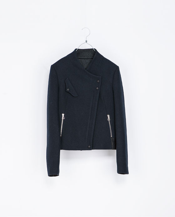 Wool Jacket - pattern: plain; style: biker; collar: asymmetric biker; predominant colour: navy; occasions: casual; length: standard; fit: straight cut (boxy); fibres: wool - mix; sleeve length: long sleeve; sleeve style: standard; collar break: medium; pattern type: fabric; texture group: woven bulky/heavy; season: a/w 2013