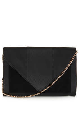 Large Envelope Clutch - secondary colour: gold; predominant colour: black; occasions: casual, evening, occasion; type of pattern: standard; style: clutch; length: hand carry; size: standard; material: faux leather; pattern: plain; finish: plain; season: a/w 2013
