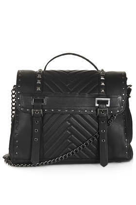 Pyramid Stud Satchel - secondary colour: silver; predominant colour: black; occasions: casual, work; type of pattern: standard; style: satchel; length: across body/long; size: standard; material: leather; embellishment: studs; pattern: plain; finish: plain; trends: gorgeous grunge; season: a/w 2013