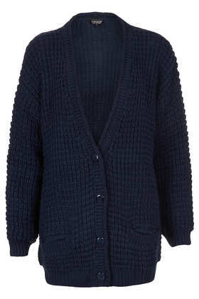 Knitted Textured Stitch Cardi - neckline: plunge; pattern: plain; length: below the bottom; predominant colour: navy; occasions: casual, work; style: standard; fibres: acrylic - 100%; fit: loose; sleeve length: long sleeve; sleeve style: standard; texture group: knits/crochet; pattern type: knitted - other; trends: broody brights; season: a/w 2013