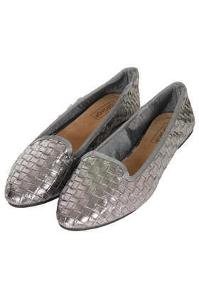 Musky Woven Slippers - predominant colour: silver; occasions: casual, evening; material: faux leather; heel height: flat; toe: round toe; style: ballerinas / pumps; finish: metallic; pattern: plain; season: a/w 2013