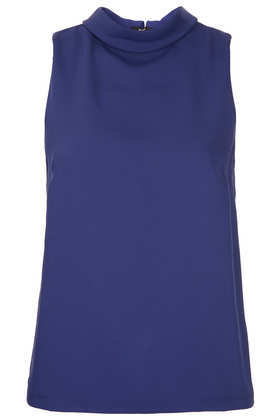 Sleeveless Roll Neck Top - pattern: plain; sleeve style: sleeveless; neckline: roll neck; predominant colour: royal blue; occasions: casual, evening, work, holiday; length: standard; style: top; fibres: polyester/polyamide - 100%; fit: body skimming; sleeve length: sleeveless; pattern type: fabric; texture group: jersey - stretchy/drapey; trends: broody brights; season: a/w 2013