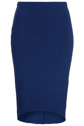 Ribbed Curve Hem Tube Skirt - pattern: plain; fit: tight; waist detail: elasticated waist; waist: mid/regular rise; predominant colour: royal blue; occasions: casual, evening, work; length: just above the knee; fibres: viscose/rayon - stretch; style: tube; texture group: jersey - clingy; pattern type: fabric; trends: 1940's hitchcock heroines, broody brights; season: a/w 2013
