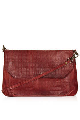 Embossed Check Crossbody Bag - predominant colour: chocolate brown; occasions: casual, creative work; type of pattern: standard; style: messenger; length: across body/long; size: standard; material: leather; pattern: plain; finish: plain; season: a/w 2013