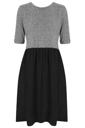 Woven 2 In 1 Smock Dress - style: shift; length: mid thigh; neckline: round neck; predominant colour: light grey; secondary colour: black; occasions: casual, evening; fit: fitted at waist & bust; fibres: cotton - 100%; hip detail: subtle/flattering hip detail; back detail: embellishment at back; sleeve length: half sleeve; sleeve style: standard; pattern type: fabric; pattern size: standard; pattern: colourblock; texture group: jersey - stretchy/drapey; trends: gothic romance; season: a/w 2013