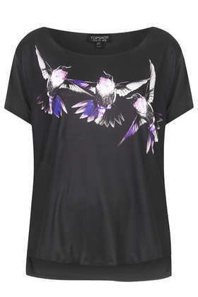 Hummingbird Photo Tee - neckline: round neck; style: t-shirt; predominant colour: black; occasions: casual; length: standard; fibres: viscose/rayon - 100%; fit: straight cut; sleeve length: short sleeve; sleeve style: standard; pattern type: fabric; pattern size: standard; pattern: patterned/print; texture group: jersey - stretchy/drapey; season: a/w 2013