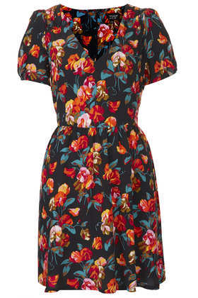 Printed Tea Dress - style: tea dress; length: mid thigh; neckline: v-neck; fit: fitted at waist; waist detail: fitted waist; predominant colour: navy; occasions: casual, evening, occasion; fibres: viscose/rayon - 100%; sleeve length: short sleeve; sleeve style: standard; texture group: cotton feel fabrics; pattern type: fabric; pattern size: standard; pattern: florals; trends: playful prints, broody brights; secondary colour: raspberry; season: a/w 2013