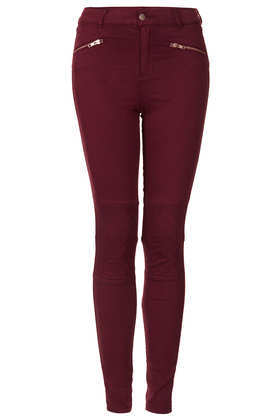 Biker Quilt Skinny Trousers - length: standard; pattern: plain; pocket detail: large back pockets; hip detail: front pockets at hip; waist: mid/regular rise; predominant colour: burgundy; occasions: casual, evening; fibres: cotton - stretch; texture group: cotton feel fabrics; fit: skinny/tight leg; pattern type: fabric; style: standard; trends: gorgeous grunge, broody brights; season: a/w 2013