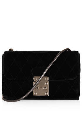 Velvet Quilted Crossbody Bag - secondary colour: silver; predominant colour: black; type of pattern: standard; style: messenger; length: across body/long; size: small; material: velvet; pattern: plain; finish: plain; occasions: creative work; season: a/w 2013