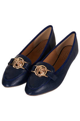 Mardi Gold Trim Slippers - predominant colour: navy; secondary colour: gold; occasions: casual, evening, work; material: faux leather; heel height: flat; toe: round toe; style: ballerinas / pumps; finish: plain; pattern: plain; embellishment: chain/metal; trends: broody brights; season: a/w 2013