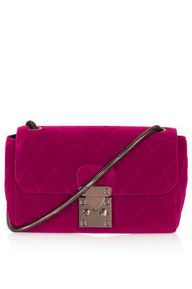 Velvet Quilted Crossbody Bag - predominant colour: hot pink; secondary colour: silver; type of pattern: standard; style: messenger; length: across body/long; size: small; material: velvet; pattern: plain; finish: plain; occasions: creative work; season: a/w 2013