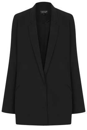 Tailored Long Line Blazer - pattern: plain; style: single breasted blazer; length: below the bottom; collar: standard lapel/rever collar; predominant colour: black; occasions: casual, evening, work, occasion; fit: tailored/fitted; fibres: polyester/polyamide - 100%; sleeve length: long sleeve; sleeve style: standard; collar break: low/open; pattern type: fabric; texture group: woven light midweight; trends: masculine feminine; season: a/w 2013