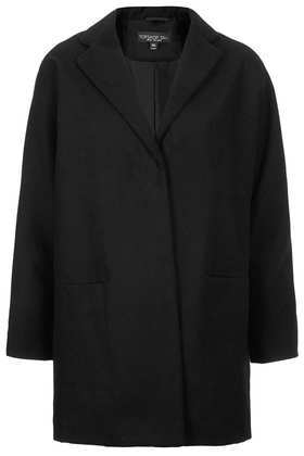 Tall Popper Front Boyfriend Coat - pattern: plain; style: single breasted; collar: standard lapel/rever collar; length: mid thigh; predominant colour: black; occasions: casual, work; fit: straight cut (boxy); fibres: polyester/polyamide - mix; sleeve length: long sleeve; sleeve style: standard; collar break: medium; pattern type: fabric; texture group: woven bulky/heavy; trends: oversized structure, masculine feminine; season: a/w 2013