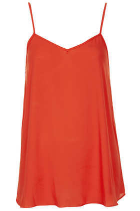 Tall Soft Cami - neckline: v-neck; sleeve style: spaghetti straps; pattern: plain; style: camisole; back detail: back revealing; predominant colour: bright orange; occasions: casual, evening, occasion, holiday; length: standard; fibres: viscose/rayon - 100%; fit: loose; sleeve length: sleeveless; texture group: silky - light; pattern type: fabric; season: a/w 2013
