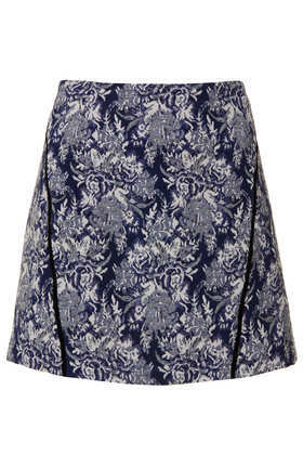 Tall Navy Jacquard Pelmet Skirt - length: mini; fit: loose/voluminous; waist: mid/regular rise; predominant colour: charcoal; secondary colour: black; occasions: casual, evening; style: mini skirt; fibres: cotton - mix; pattern type: fabric; pattern: patterned/print; texture group: brocade/jacquard; trends: playful prints; season: a/w 2013; pattern size: big & busy (bottom)