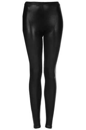 Tall High Shine Wetlook Leggings - length: standard; pattern: plain; style: leggings; waist detail: elasticated waist; waist: mid/regular rise; predominant colour: black; occasions: casual, evening; fibres: polyester/polyamide - 100%; texture group: leather; fit: skinny/tight leg; pattern type: fabric; trends: gorgeous grunge; season: a/w 2013