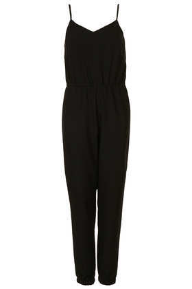 Tall Strappy V Neck Jumpsuit - length: standard; neckline: v-neck; sleeve style: spaghetti straps; fit: fitted at waist; pattern: plain; predominant colour: black; occasions: casual, evening, occasion, holiday; fibres: polyester/polyamide - mix; sleeve length: sleeveless; style: jumpsuit; pattern type: fabric; texture group: other - light to midweight; trends: gothic romance; season: a/w 2013