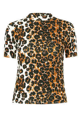 Petite Leopard Textured Top - neckline: high neck; secondary colour: camel; predominant colour: black; occasions: casual, evening; length: standard; style: top; fibres: cotton - stretch; fit: body skimming; sleeve length: short sleeve; sleeve style: standard; pattern type: fabric; pattern size: standard; pattern: animal print; texture group: jersey - stretchy/drapey; trends: gorgeous grunge, playful prints; season: a/w 2013