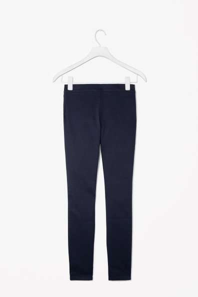 Skinny Fit Trousers - length: standard; pattern: plain; waist detail: elasticated waist; waist: mid/regular rise; predominant colour: navy; occasions: casual, evening, work; fibres: cotton - stretch; texture group: cotton feel fabrics; fit: skinny/tight leg; pattern type: fabric; style: standard; trends: broody brights; season: a/w 2013