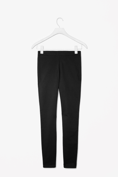 Skinny Fit Trousers - length: standard; pattern: plain; waist detail: elasticated waist; waist: mid/regular rise; predominant colour: black; occasions: casual, evening, work; fibres: cotton - stretch; texture group: cotton feel fabrics; fit: skinny/tight leg; pattern type: fabric; style: standard; season: a/w 2013