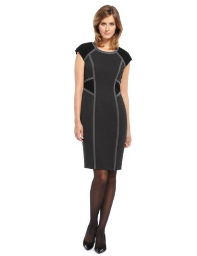 M&S Collection Colour Block Panelled Dress - style: shift; neckline: round neck; sleeve style: capped; fit: tailored/fitted; occasions: evening, work; length: just above the knee; fibres: polyester/polyamide - stretch; sleeve length: short sleeve; predominant colour: monochrome; pattern type: fabric; pattern size: standard; pattern: colourblock; texture group: other - light to midweight; season: a/w 2013
