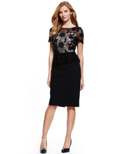 M&S Collection Embroidered Floral Lace Bodice Peplum Dress - style: shift; neckline: slash/boat neckline; fit: tailored/fitted; waist detail: peplum waist detail; predominant colour: black; occasions: evening, occasion; length: on the knee; fibres: viscose/rayon - stretch; sleeve length: short sleeve; sleeve style: standard; texture group: lace; pattern type: fabric; pattern size: standard; pattern: patterned/print; trends: gothic romance; season: a/w 2013