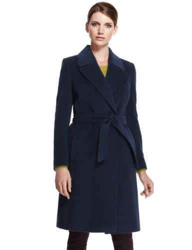 Autograph Angora Blend Belted Coat With Wool - pattern: plain; length: on the knee; style: wrap around; collar: standard lapel/rever collar; predominant colour: navy; occasions: casual, work; fit: tailored/fitted; fibres: wool - mix; waist detail: belted waist/tie at waist/drawstring; sleeve length: long sleeve; sleeve style: standard; collar break: medium; pattern type: fabric; texture group: woven bulky/heavy; season: a/w 2013