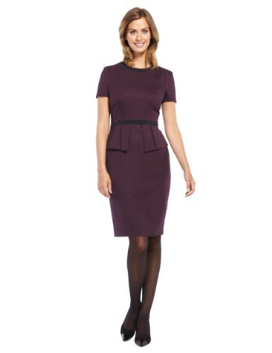 M&S Collection Geometric Print Peplum Dress - style: shift; fit: tailored/fitted; waist detail: peplum waist detail; predominant colour: aubergine; secondary colour: black; occasions: evening, work; length: just above the knee; fibres: polyester/polyamide - stretch; neckline: crew; sleeve length: short sleeve; sleeve style: standard; pattern type: fabric; pattern: patterned/print; texture group: other - light to midweight; trends: 1940's hitchcock heroines; season: a/w 2013