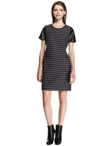 Autograph Striped Tunic Dress With Wool - style: shift; length: mid thigh; neckline: round neck; fit: tailored/fitted; pattern: horizontal stripes; predominant colour: navy; secondary colour: stone; occasions: casual, evening, creative work; fibres: polyester/polyamide - mix; sleeve length: short sleeve; sleeve style: standard; pattern type: fabric; pattern size: standard; texture group: woven light midweight; season: a/w 2013