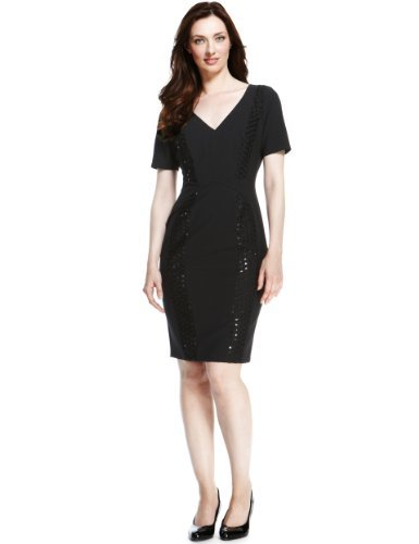 M&S Collection Drop A Dress Size Sequin Panelled Dress With Secret Support™ - style: shift; neckline: low v-neck; fit: tailored/fitted; pattern: plain; predominant colour: black; occasions: evening, occasion; length: on the knee; fibres: polyester/polyamide - stretch; sleeve length: short sleeve; sleeve style: standard; pattern type: fabric; texture group: other - light to midweight; embellishment: sequins; brand specific: secret support; season: a/w 2013; wardrobe: event; embellishment location: trim