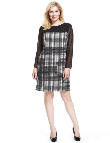 Plus Panelled Yoke Sketchy Checked Dress - style: tunic; neckline: slash/boat neckline; pattern: checked/gingham; shoulder detail: contrast pattern/fabric at shoulder; predominant colour: mid grey; secondary colour: black; occasions: evening, work; length: just above the knee; fit: body skimming; fibres: polyester/polyamide - 100%; sleeve length: long sleeve; sleeve style: standard; pattern type: fabric; pattern size: light/subtle; texture group: other - light to midweight; season: a/w 2013