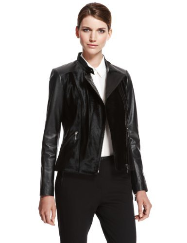 Autograph Calf Skin Leather Jacket - pattern: plain; style: biker; collar: standard biker; predominant colour: black; occasions: casual, evening; length: standard; fit: tailored/fitted; fibres: leather - 100%; sleeve length: long sleeve; sleeve style: standard; texture group: leather; collar break: high/illusion of break when open; pattern type: fabric; season: a/w 2013