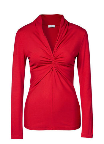 Viscose Top - neckline: low v-neck; pattern: plain; bust detail: knot twist front detail at bust; predominant colour: true red; occasions: casual, evening; length: standard; style: top; fibres: viscose/rayon - stretch; fit: body skimming; sleeve length: long sleeve; sleeve style: standard; texture group: jersey - clingy; pattern type: fabric; trends: broody brights; season: a/w 2013