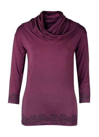 Viscose Top - neckline: cowl/draped neck; pattern: plain; predominant colour: burgundy; secondary colour: black; occasions: casual, work; length: standard; style: top; fibres: viscose/rayon - stretch; fit: body skimming; sleeve length: 3/4 length; sleeve style: standard; texture group: jersey - clingy; pattern type: fabric; pattern size: light/subtle; trends: broody brights; season: a/w 2013