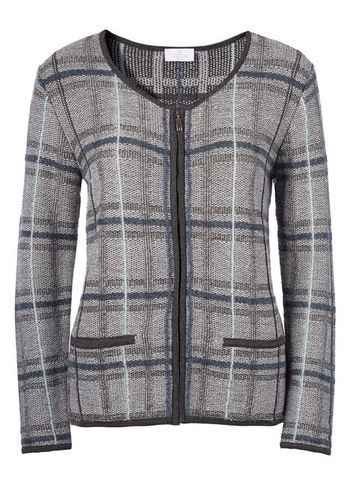 Wool Cardigan - neckline: round neck; pattern: checked/gingham; secondary colour: navy; predominant colour: light grey; occasions: casual, work; length: standard; style: standard; fibres: wool - mix; fit: slim fit; sleeve length: long sleeve; sleeve style: standard; texture group: knits/crochet; pattern type: knitted - fine stitch; pattern size: standard; trends: masculine feminine; season: a/w 2013