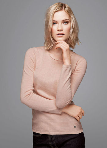 Sweater - neckline: round neck; pattern: plain; style: standard; predominant colour: nude; occasions: casual; length: standard; fibres: polyester/polyamide - mix; fit: slim fit; sleeve length: long sleeve; sleeve style: standard; texture group: knits/crochet; pattern type: knitted - fine stitch; season: a/w 2013