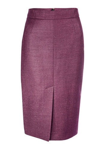 Waisted Skirt - length: below the knee; pattern: plain; style: pencil; fit: tailored/fitted; waist: high rise; predominant colour: magenta; occasions: evening, work, occasion, creative work; fibres: wool - mix; pattern type: fabric; texture group: woven light midweight; trends: 1940's hitchcock heroines, broody brights; season: a/w 2013