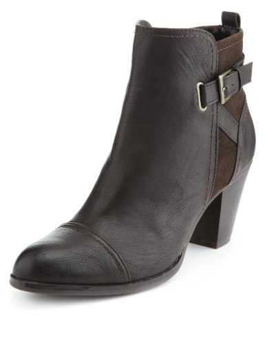 M&S Collection Toe Cap Buckle & Strap Boots With Insolia® - predominant colour: chocolate brown; occasions: casual, work, creative work; material: faux leather; heel height: mid; embellishment: buckles; heel: block; toe: round toe; boot length: ankle boot; style: standard; finish: plain; pattern: plain; season: a/w 2013
