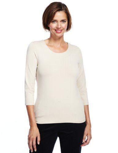 Classic Stab Stitched Top - neckline: round neck; pattern: plain; style: t-shirt; predominant colour: ivory/cream; occasions: casual, work; length: standard; fibres: viscose/rayon - stretch; fit: straight cut; sleeve length: 3/4 length; sleeve style: standard; pattern type: fabric; pattern size: standard; texture group: jersey - stretchy/drapey; season: a/w 2013