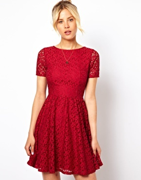 Skater Dress In Lace - length: mid thigh; predominant colour: true red; occasions: evening, occasion; fit: fitted at waist & bust; style: fit & flare; fibres: cotton - mix; neckline: crew; hip detail: subtle/flattering hip detail; sleeve length: short sleeve; sleeve style: standard; texture group: lace; pattern type: fabric; pattern: patterned/print; embellishment: lace; trends: gothic romance, broody brights; season: a/w 2013