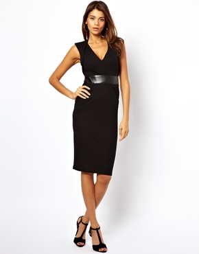 Sexy Pencil Dress With Plunge Neck And Leather Look Panel - style: shift; neckline: v-neck; fit: tailored/fitted; pattern: plain; sleeve style: sleeveless; waist detail: wide waistband/cummerbund; predominant colour: black; occasions: evening, work, occasion, creative work; length: on the knee; fibres: polyester/polyamide - stretch; sleeve length: sleeveless; pattern type: fabric; texture group: jersey - stretchy/drapey; trends: 1940's hitchcock heroines; season: a/w 2013